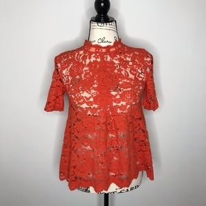 HD in Paris Anthropologie coral red lace top 2